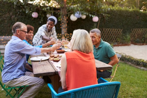 A Group of Friends Celebrating and Toasting in a Backyard Get-Together