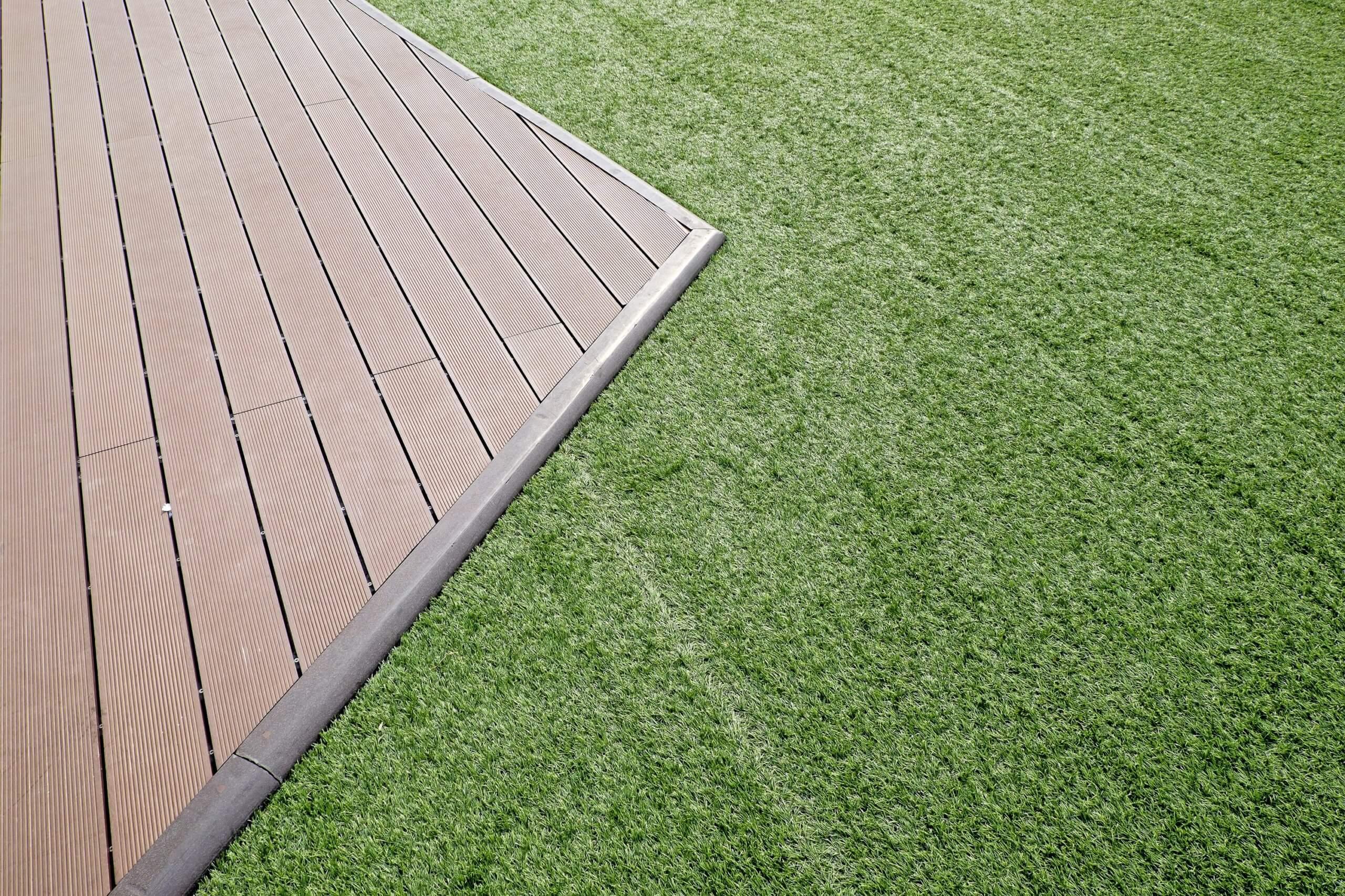 artificial grass wood deck